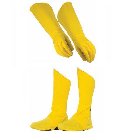 Child Superhero Yellow Shoe Covers Boot Tops and Gauntlet Gloves Costume Kit](Kids Super Hero Costumes)