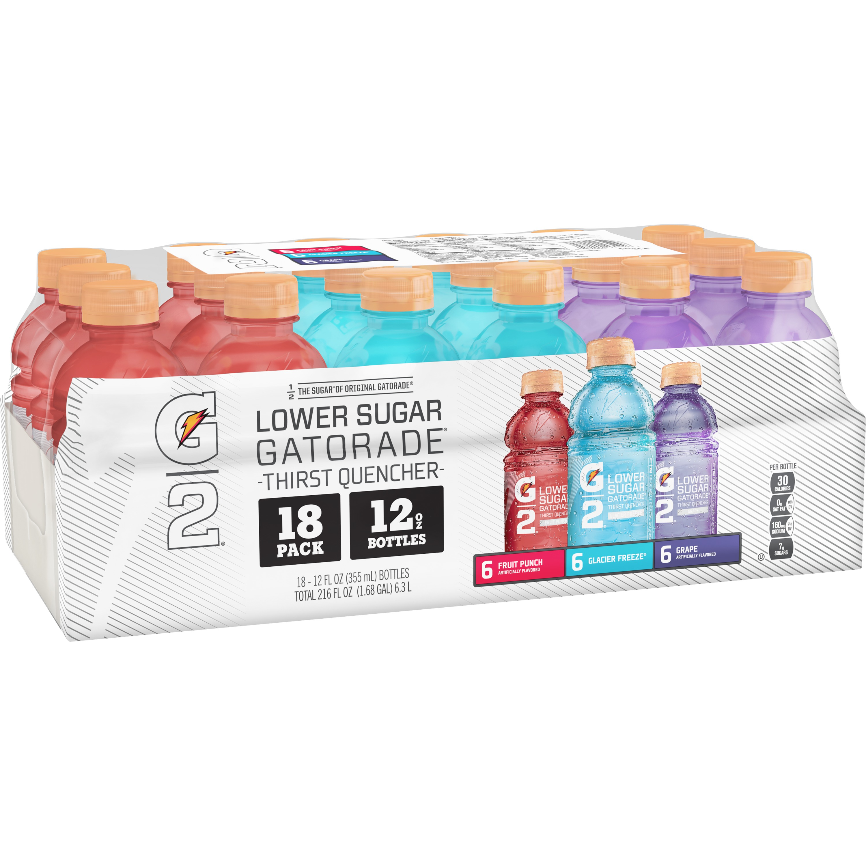 G2 Thirst Quencher Lower Sugar Sports Drink, Variety Pack, 12 Fl Oz, 18 Ct
