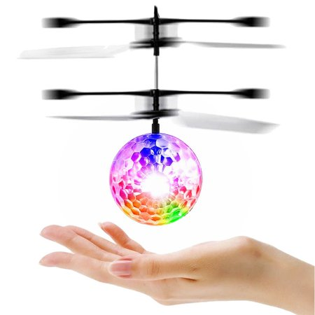 Clear Inflatable Ball (Plastic RC Toy Flying Ball, Infrared Induction Helicopter Ball with LED Lighting, Clear,)
