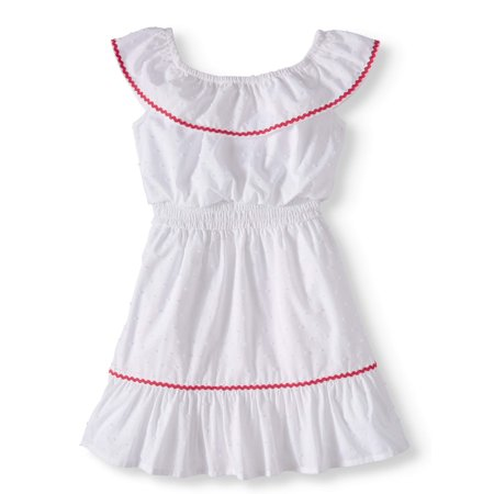 Wonder Nation Ruffle Neck Woven Dress (Toddler Girls)](Girls Winter Dresses On Sale)