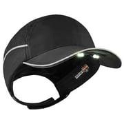 Ergodyne Skullerz® 8965 Lightweight Bump Cap Hat w/ LED Lighting, Black, Long Brim