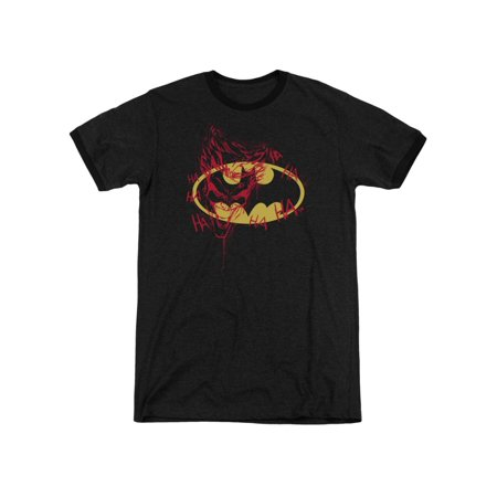 Batman DC Comics Joker Graffitis the Bat Logo Adult Ringer T-Shirt Tee