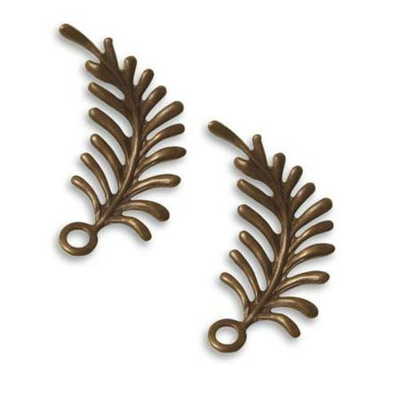 Vintaj Natural Brass Fastenables Fern Curving Left Leaf Charms 30x12mm (2) (Left Leaf)