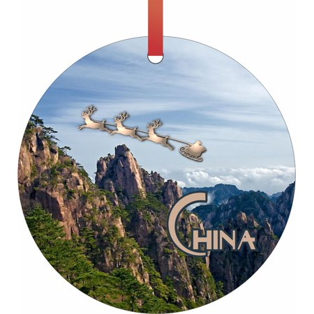 Santa and Sleigh Riding Over The Yellow Mountains - China TM - Double-Sided Round-Shaped Flat Aluminum Christmas Holiday Hanging Ornament with a Red Satin Ribbon. Made in the USA!