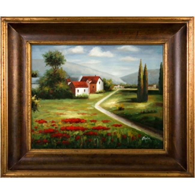 Artmasters Collection KM89107-40G Poppy Field Road II Framed Oil Painting