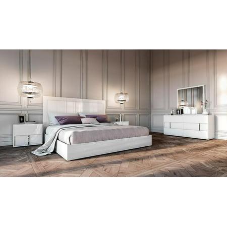 White Gloss Finish Eastern King Bedroom Set 5Pcs Made In Italy VIG Modrest  Nicla