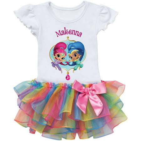 Shimmer And Shine Personalized Rainbow Tutu Tee - 2T, 3T, 4T, 5/6T