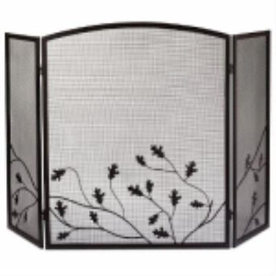 3 Panel Natural Brown Oak Leaf Fireplace Screen Powder Coated Steel Co by