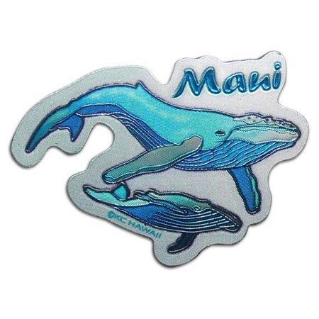 Hawaii Maui Whales Foil Magnet 1.375