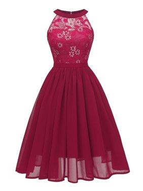 Phoebecat Cocktail Dress for Women, Women's Vintage Floral Lace Dresses for Ladies, Wine Red Summer Romantic Evening Party Formal Wedding Midi Dress for Juniors, S-2XL
