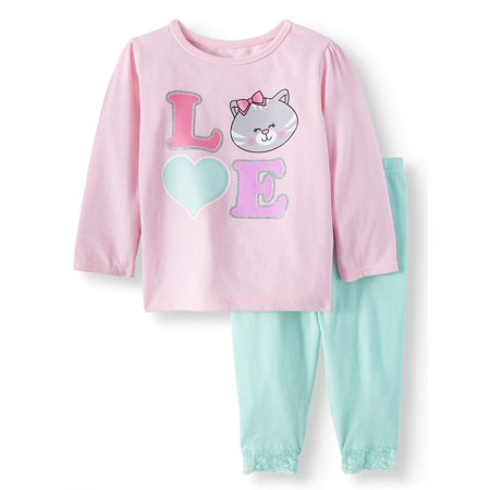 Long Sleeve T-Shirt & Leggings, 2pc Outfit Set (Baby Girls)