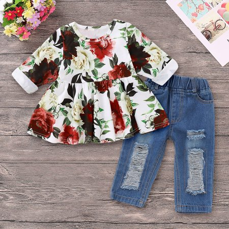 Baby Kids Toddler Girl Outfits Set Long Sleeve Floral Shirt Tops + Ripped Jeans Long Pants 2pcs/set