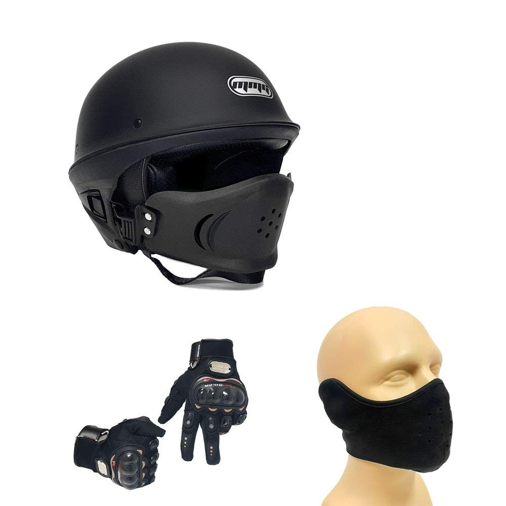 Combo Motorcycle Street Half Helmet DOT Approved with Adjustable Muzzle - VADER Medium (Matte Black) with Balaclava and Riding Black Gloves