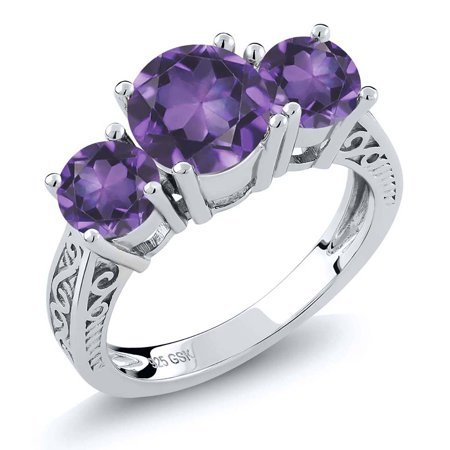 2.00 Ct Round Purple Amethyst 925 Sterling Silver Ring - image 4 of 4