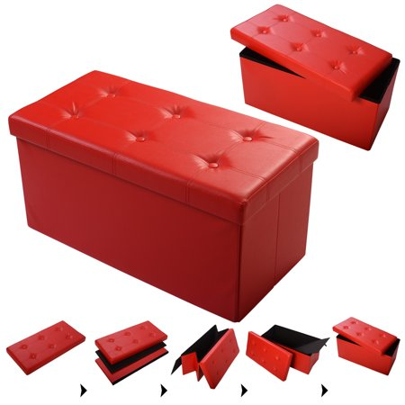 "Costway 30""x15""x15"" Large Folding Storage Faux Leather Ottoman Pouffe Box Stool (Red)"