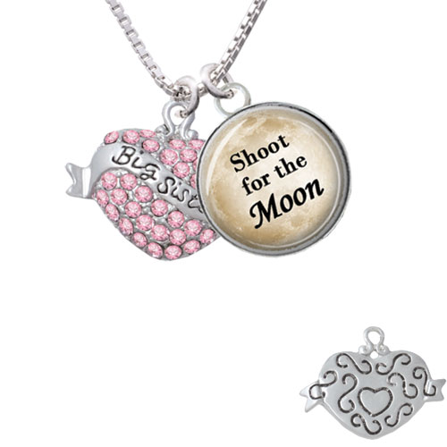 """Big Sister Banner on Pink Crystal Heart Shoot for the Moon Glass Dome Necklace, 18""""+2"""""""