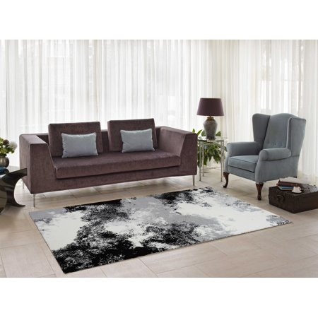 Ladole Rugs Comfortable Stylish Soft Smooth Indoor Modern Abstract Area Rug Carpet for Dining Room Living Room Bedroom, Grey Cream Black, 5x8 (5'3