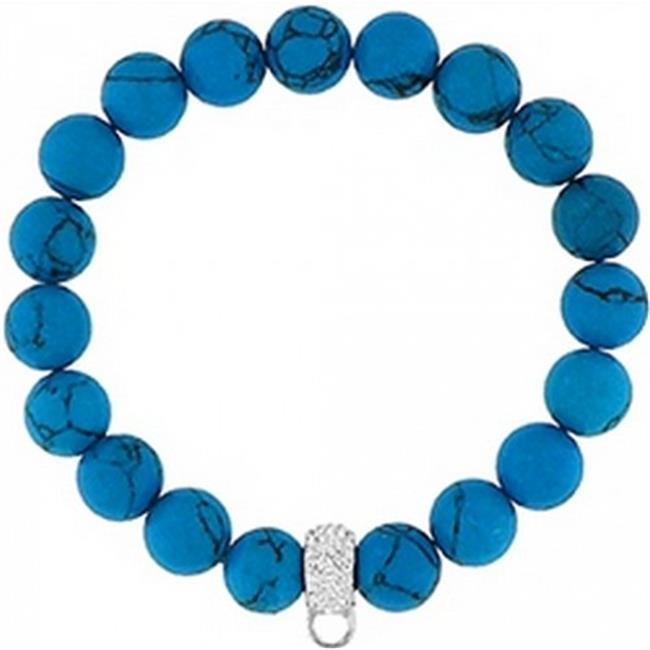 Doma Jewellery DJS01440 Bracelet with Crystal Charm Enhancer 10mm Synthetic Turquoise Beads by Doma Jewellery