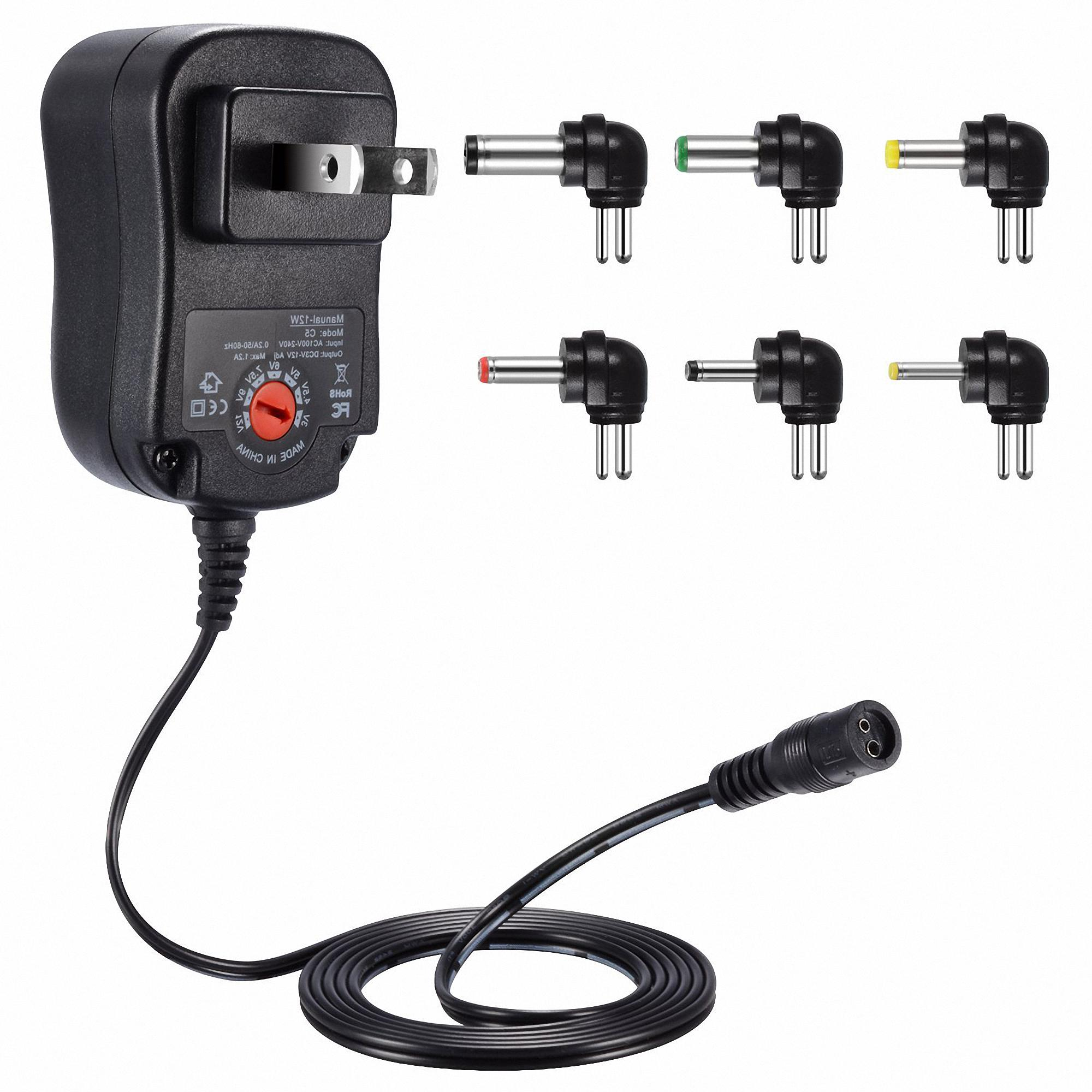 Dteck 12W Universal Charger AC/DC Adapter Switching Power Supply with 6 Selectable Adapter Plugs