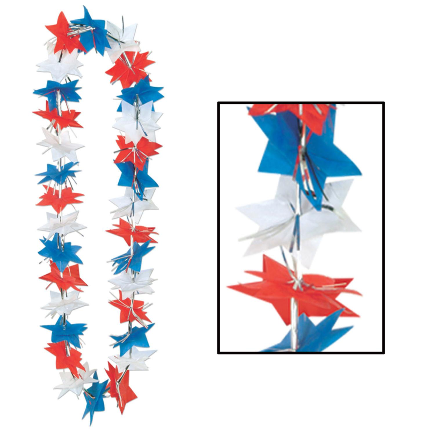 Pack of 12 Red, White and Blue 4th of July Patriotic Star Party Lei Necklaces 36""
