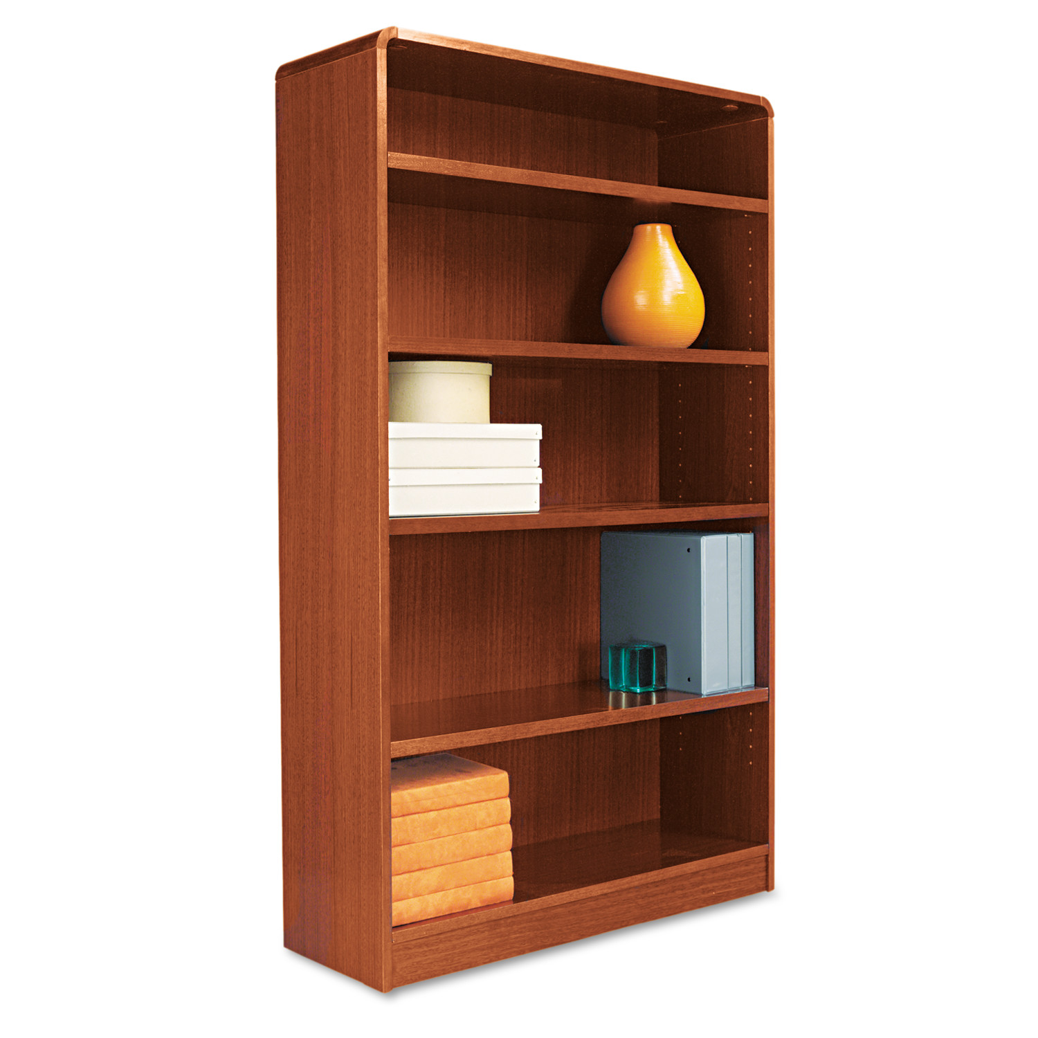Alera Radius Corner Wood Bookcase, Five-Shelf, 35-5/8w x 11-3/4d x 60h, Medium Cherry