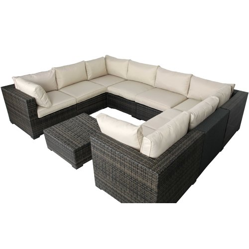 Brayden Studio Lara 9 Piece Sectional Set with Cushions