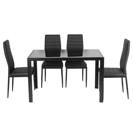 5 Piece Kitchen Dining Table Set W Gl Top And 4 Leather Chairs Dinette Black