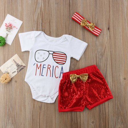 Fifth Element Outfit (Independence Day 5th Of July Baby Girl Kid Romper Pants Headband Outfits)