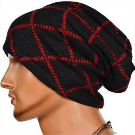 Leather Biker Skull Cap - Men Women Beanie Hat Skull Knitted Winter Ski Crochet Baggy Slouchy Biker Cap