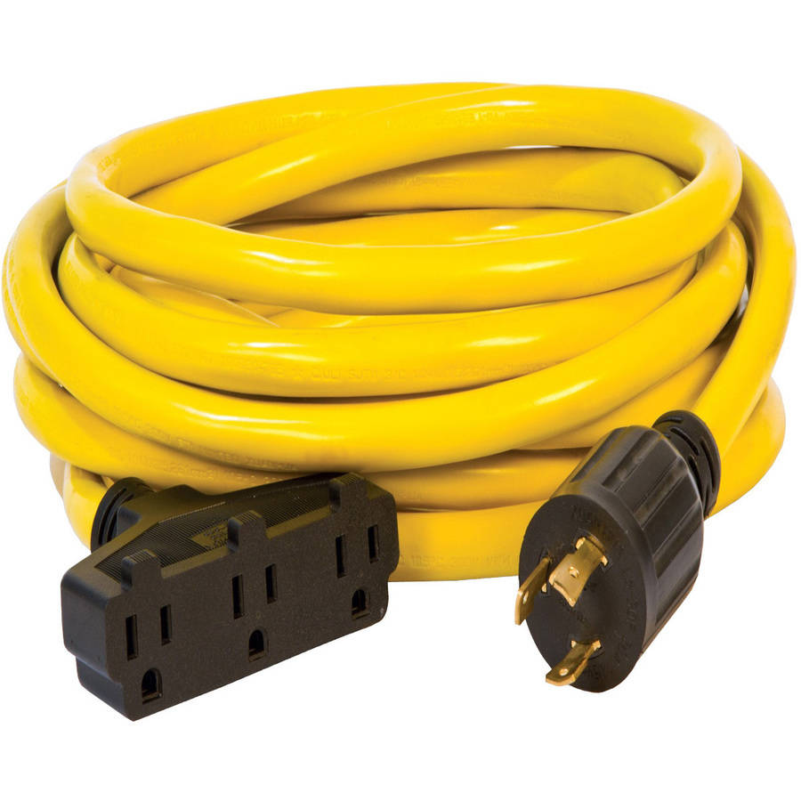 Champion 48034 25-Foot 30-Amp 125-Volt Fan-Style Generator Extension Cord (L5-30P to three 5-15R)