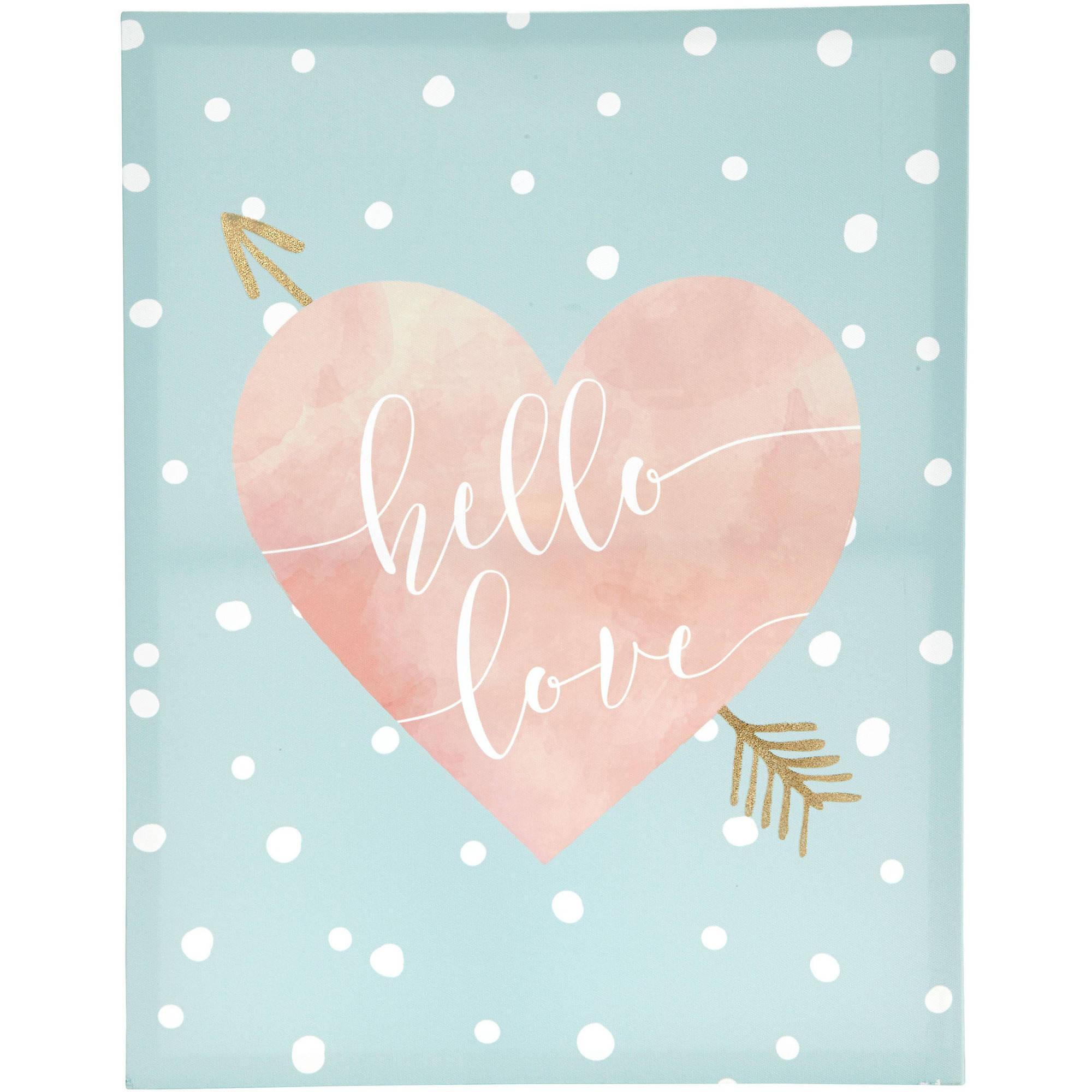 Tiny Ideas Hello Love Canvas, Mint