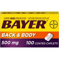 Bayer Back & Body Extra Strength Pain Reliever Aspirin w Caffeine, 500mg Coated Tablets, 100 Ct