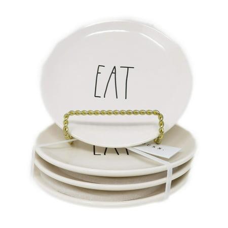 Rae Dunn Magenta Ceramic Salad Appetizer Dessert Circle Small Plate Eat (Set of