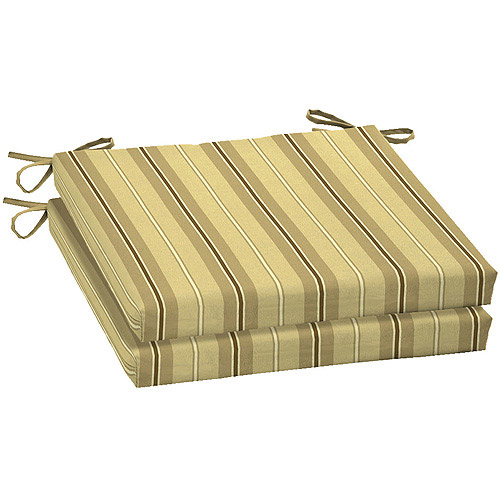 Mainstays Stripe Dining Seat Pads, Set of 2, Tan Stripe