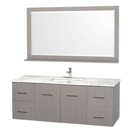 Wyndham Collection Centra 60 inch Single Bathroom Vanity in Gray Oak, White Carrera Marble Countertop, Square Porcelain Undermount Sink, and 58 inch Mirror ()