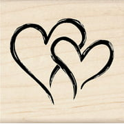 "Inkadinkado Mounted Rubber Stamp 2""x2""-2 Hearts In 1"