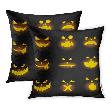 ARHOME Orange Halloween Scary Carved Pumpkins Faces Jack Pillowcase Cushion Cover 20x20 inch, Set of 2 - Scary Halloween Pumpkin Carving Patterns
