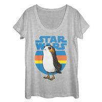 Star Wars The Last Jedi Women's Retro Porg Scoop Neck T-Shirt