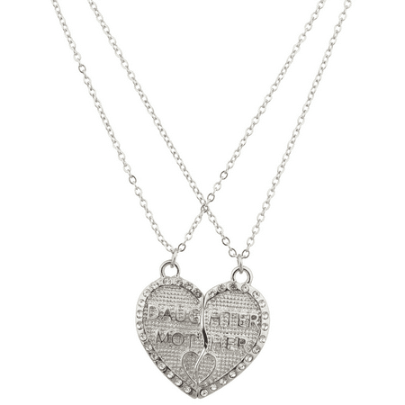 Lux Accessories Mother Daughter Mom Mum Broken Heart Pave Textured BFF Best Friends Forever