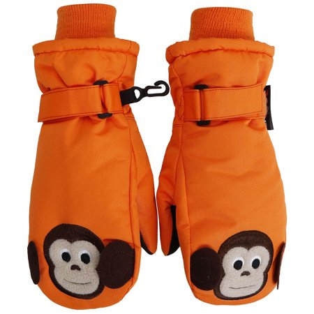 Animal Gloves (SimpliKids Children's Winter Fun Animal Character 3M Thinsulate Waterproof Ski Mitten Gloves,M,Orange#12 Monkey)