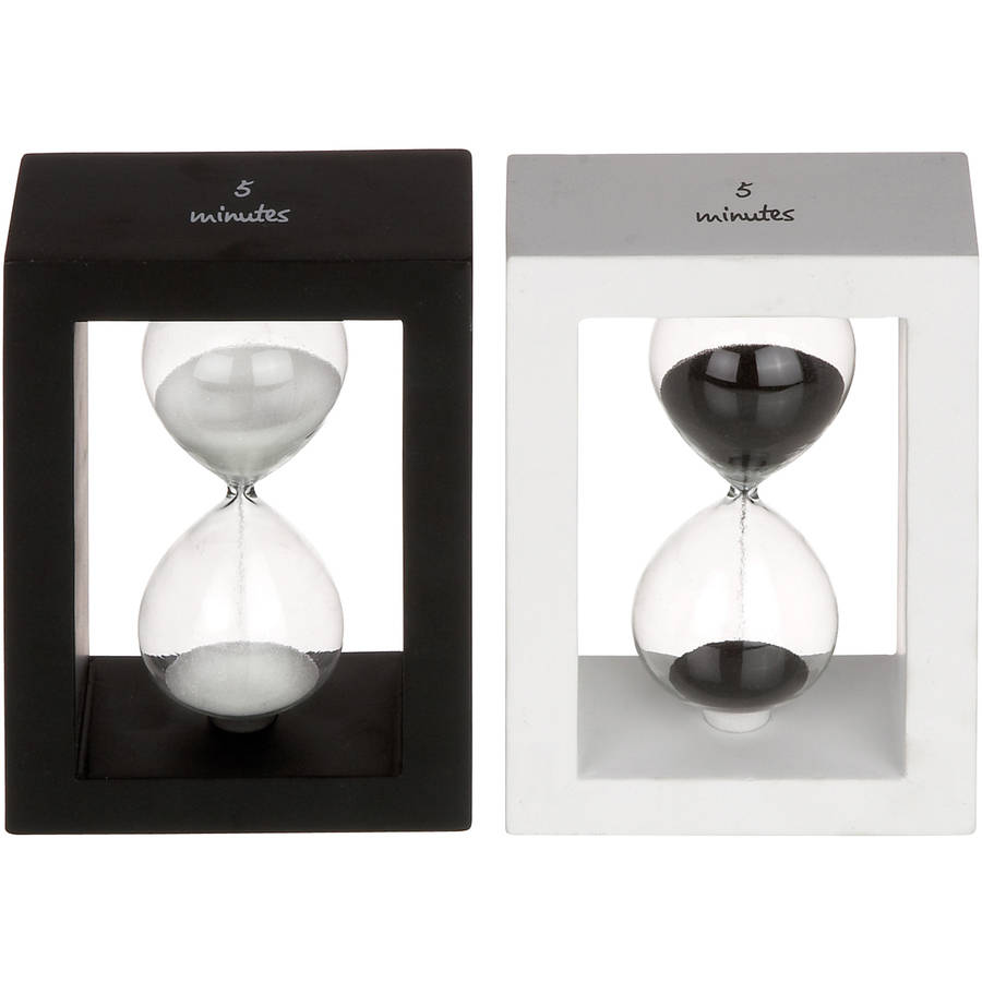 Decmode Wood and Glass Sand Timer, Multi Color