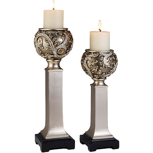 "Ore International Inc. 15""/19"" Silver Vine Candleholder Set"