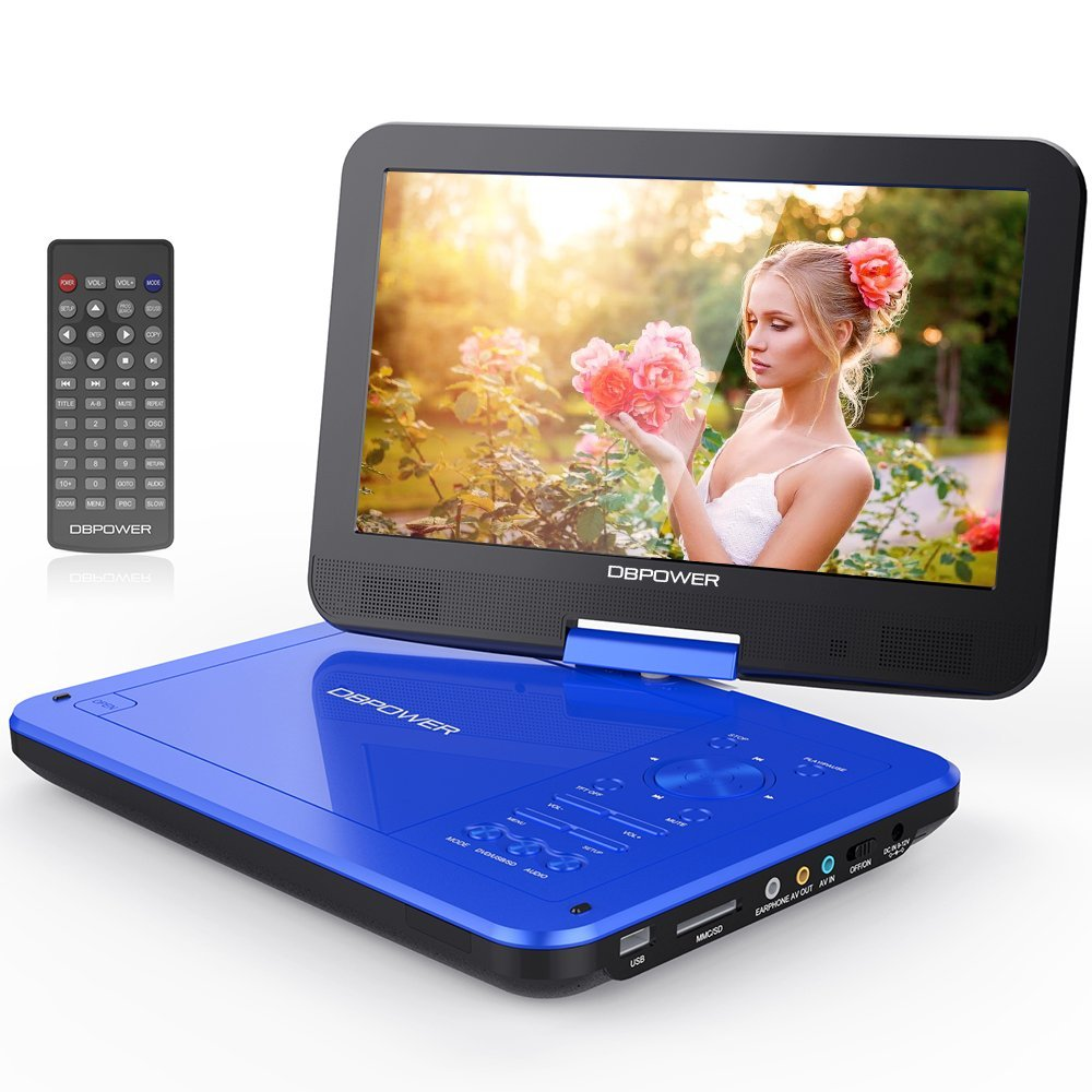 """DBPOWER 10.5"""" Portable DVD Player with Swivel Screen, 3 Hours Rechargeable Battery,... by DBPOWER"""