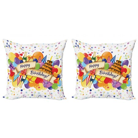 Birthday Throw Pillow Cushion Cover Pack of 2, Colorful Joyous Burst with Champagne Bottles Cake Balloons Celebration, Zippered Double-Side Digital Print, 4 Sizes, Multicolor, by (6ft Inflatable Champagne Bottle With Balloon Bubbles)