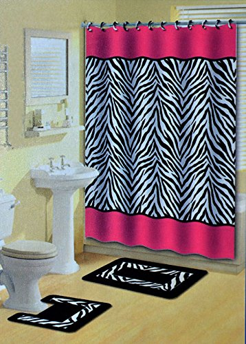 Lexus Pink & Black Zebra 15-Piece Bathroom Accessory Set: 2 Bath Mats, Shower Curtain & 12... by
