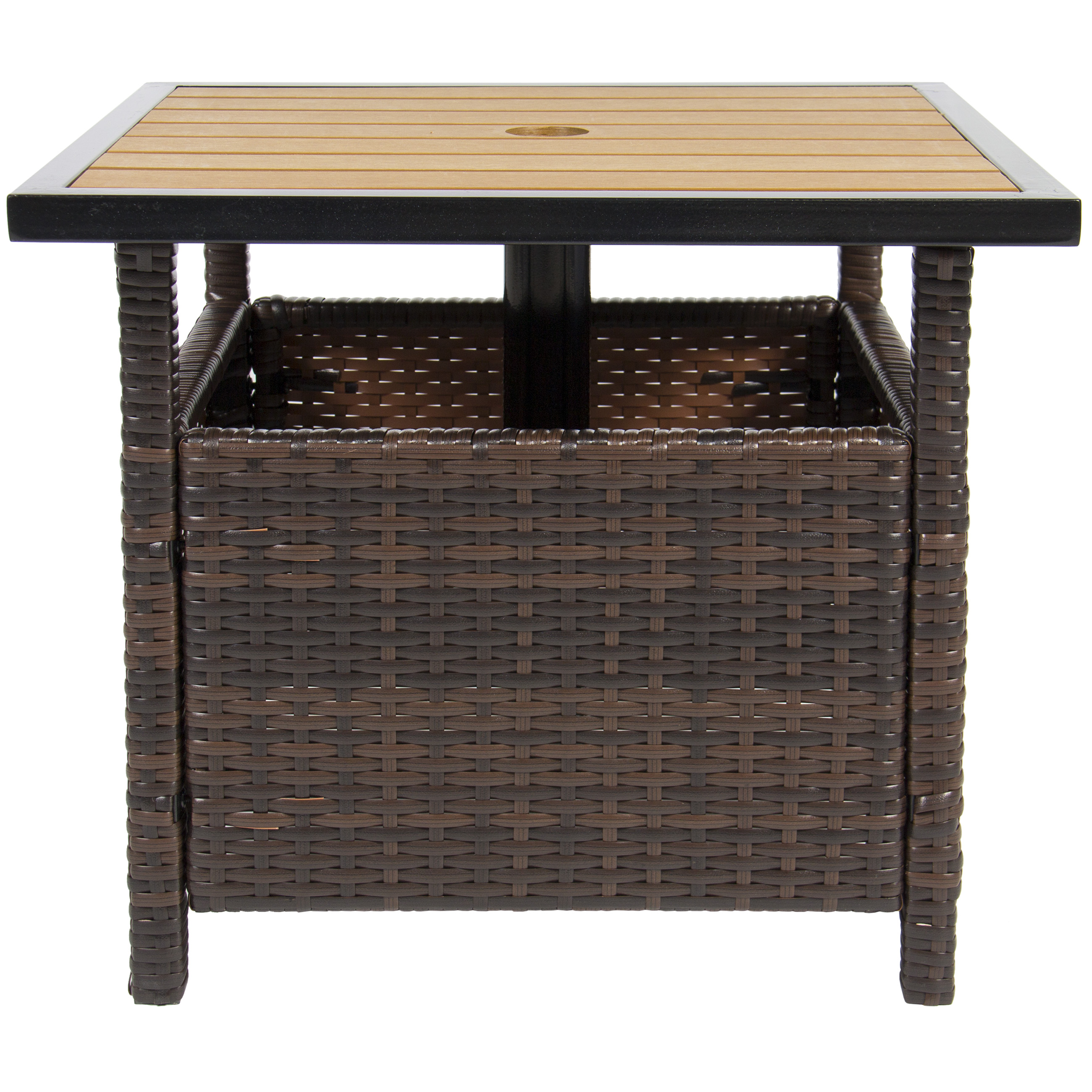 Best choice products wicker patio umbrella stand table with umbrella hole outdoor furniture for garden pool deck w uv resistant frame brown walmart