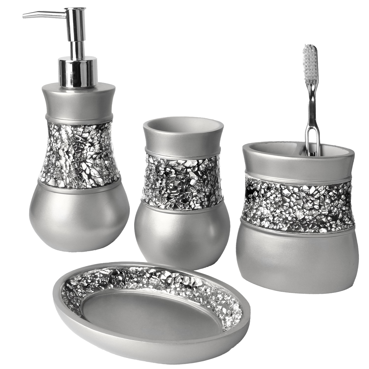 Brushed Nickel Bathroom Accessories Set, 4 Piece Bath Ensemble, Bath Set Collection Features Soap Dispenser Pump, Toothbrush Holder, Tumbler, Soap Dish- Gray - Silver Mosaic Glass