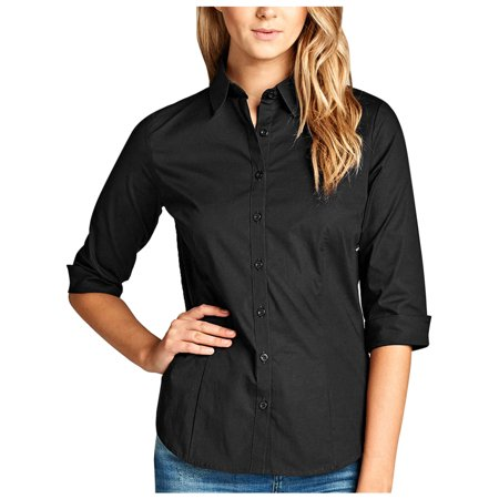 - KOGMO Womens Classic Solid 3/4 Sleeve Button Down Blouse Dress Shirt