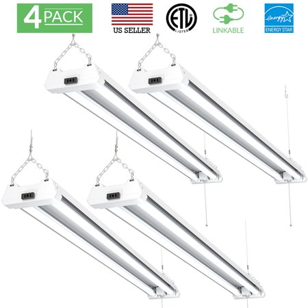 SUNCO 4 PACK - ENERGY STAR, ETL - 4ft 40W LED Utility Shop Light, 4000lm 120W Equivalent, Double Integrated LED Fixture, 5000K Daylight Ceiling Light, Garage/Basement/Workshop, Linkable, Frosted