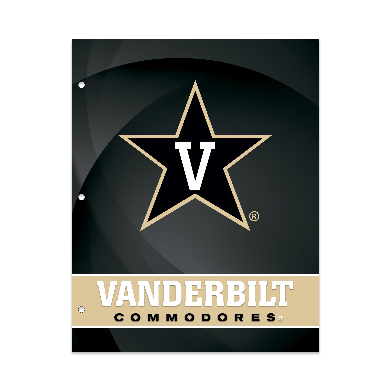NCAA Vanderbilt University Commodores 2 Pocket Portfolio, Three Hole Punched, Fits Letter Size